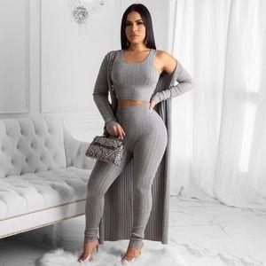 3pcs Figure-flattering Women Casual Knitted Suit Solid Vest +cardigan Coat+tight Trousers Comfortable Cotton Elegant Women SetG31