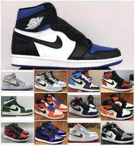 Hava ayakkabıları nakin derisiÜrdünAJ1AjretroSneakers Erkekler Kadınlar Basketbol 1s Orta Yüksek Jumpman 1 OG Obsidiyen UNC Chicago Işık