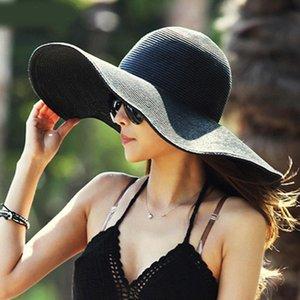 Ladies Hot Summer Fashion Women Pliable Wide Large Brim Floppy plage chapeaux de soleil Chapeau de Paille