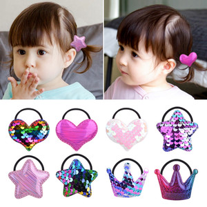 21pcs / lot della corda dell'arcobaleno Solid Paillettes capelli band per neonate cuore della stella corona elastica del supporto del Ponytail fascia dei capelli Accessorie