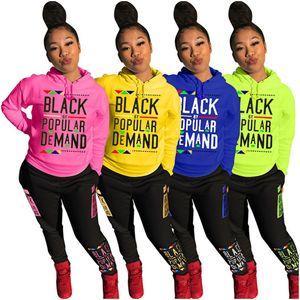 Black Letter Women 2 Piece Outfits Autumn Hoodies Sweatshirt + Pants Trousers Tracksuit Set Fashion Hooded Sportwear Long Sleeve Sports Suit