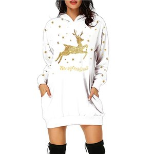 40# Christmas Dress Women Christmas Elk Printed Hoodie Bag Hip Pocket Print Hoodie Fashion Dress Vestidos Invierno 2021 Mujer 201125