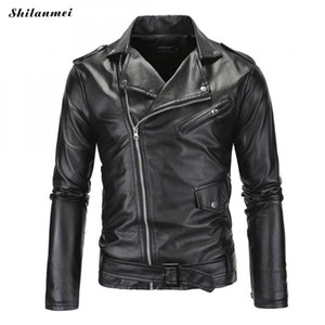 Plus Size 7XL Pu Leather Jacket Men Motorcycle Basic Leather Jacket Coat Men Black Casual Zipper Pockets Jackets 7XL