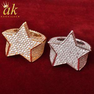 Star MenRingCharmGoldColor JewelryCopper Full Cubic Zircons Heavy Hip Hop Rock Street Jewelry