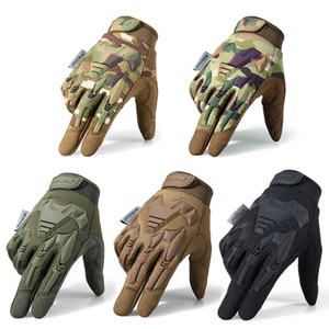 Tactical Military Gloves Army Paintball Shooting Airsoft Combat Bicycle Rubber Protective Anti-Skid Full Finger Glove Men Women LJ201030