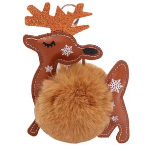 Christmas Keychain Pendant PU Leather Elk Plush Ball Pendant Bag Key Ring Ornament Xmas Small Gift