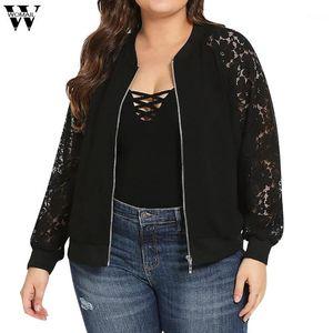 coat women Women's Plus Size Solid Color Long Sleeve Lace Stitching Zipper Pocket Coat Patchwork coats and jackets women Au61