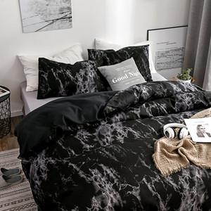 Tasarımcı Yatak Yorgan Setleri Lüks 2 / 3pcs Yatak Seti Baskılı Mermer Beyaz Siyah Nevresim Avrupa Boyutu Kral Kraliçe Nevresim