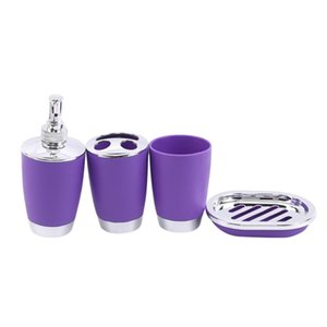 4Pcs Set Bathroom Suit Set Bathing Accessories Goods Includes Soap Box Cup Toothbrush Holder Soap Dispenser Dish Set