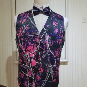 Грязная девочка Groom Camo Формальное Mens Groomsmen Розовый Камуфляж Свадебный жилет плюс размер C1009
