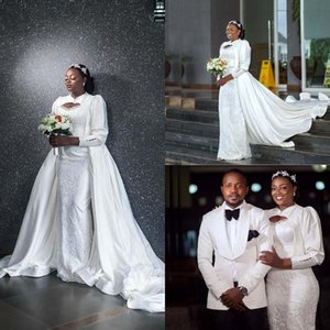 2021 Overskirt Mermaid Wedding Dresses 3 4 Long Sleeves Lace Applique Beade Satin with Detachable Train South African Wedding Gown Vestidos