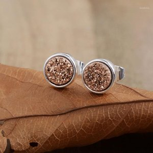 8mm Drusy Studs Natural Agated Druzy Women Earrings Girls Gifts Gild Silver Plated Rose Gold Gems Stud Earrings Dropshipping1