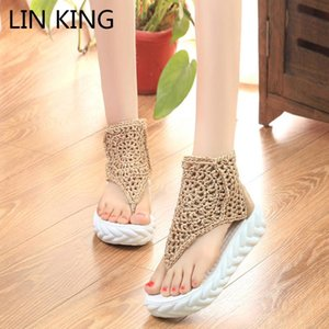 LIN KING Top Quality Zipper Women Sandals Fashion Floral Knit Summer Platform Shoes Thick Sole High Top Wedges Gladiator Shoes