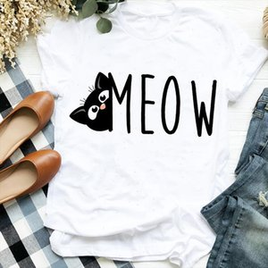 Women Lady Casual Cat Letter Funny 90s Style Cute Print Shirt T Tee for Womens Clothes Tshirt Female Top Graphic T shirt