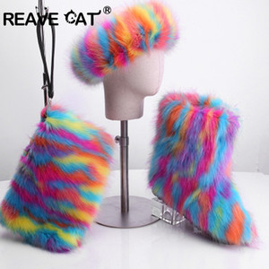 REAVE CAT Furry Boots Winter Shoes Women Snow Boots With Bag Headband New Luxury Fur Winter Boots For Women High Boot Fur 201020