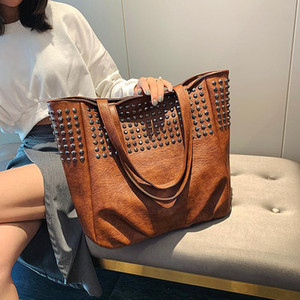 Fashion Rivet Shoulder Bags For Women Leather Luxury Handbags Women Bags Designer Ladies Hand Bag Big Totes Top-handle