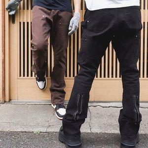 رجوع الكاحل سستة تقسم مستقيم مضيئة السراويل رجل ارتفاع الشارع غسلها الرجعية فضفاضة عارضة الجينز الهيب هوب الدنيم السراويل