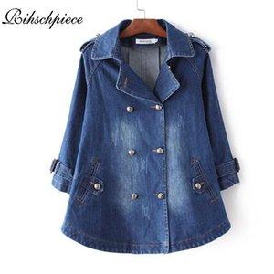 Rihschpiece Spring Jeans Veste oversize femmes Poncho Vintage Denim Vestes manches longues Manteau de base Femme de poche Veste RZF1216 201013