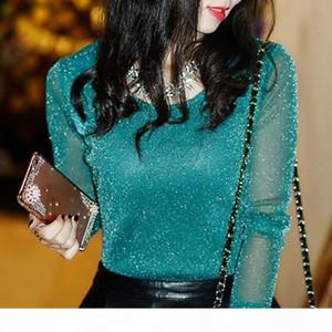 Spring Summer Women's Sexy See Through Mesh Blouse Long Sleeve Transparent Shining Elegant Shirt Fashion Women Tops