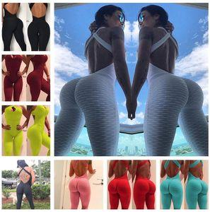 Kadınlar Bodysuit Legging Jumpsuit Rompers Egzersiz Gym Yoga Fit Bir Adet Pantolon Seksi Backless Kolsuz Çapraz Kuşak Skinny Romper F92803
