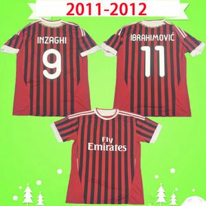 2011 2011 Retro Soccer Jersey Camicia da calcio vintage 11 12 Classic AC Maglia da calcio manica lunga Maldini inzaghi Milano Beckham Ibrahimovic