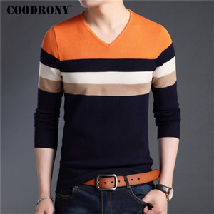 COODRONY Sweater Men Autumn Winter Cotton Wool Pullover Men Streetwear Fashion Striped Knitwear Slim Fit V-Neck Pull Homme 91029 201221