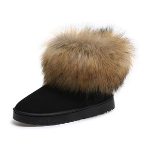 Women Snow Boots Winter Boots Furry Ankle Warm Winter Shoes Fur Shoes Thick Bottom Waterproof Long Fur Hot Sale