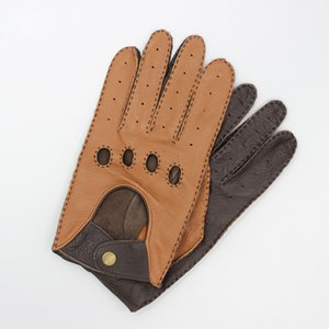 Latest Goatskin Locomotive Gloves Male Driver Style Classic Light Brown Dark Brown Motorcycle Bicycle Man's Gloves TB15-1 201019