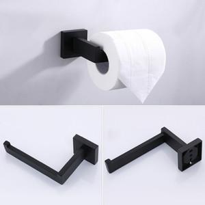Tuvalet Kağıdı Tutucu Seti Raf Raf Duvar Dağı Doku Siyah Paslanmaz Çelik Mutfak Banyo Aksesuarları Tek Boru Rulo Askı GWB4861