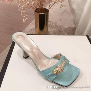 The Latest Spring summer Women Slippers Square head slippers, Classic Fashion Women Goblet heel Slippers with box size35-40cm