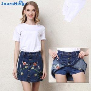 Joursneige Denim Shorts Gonne Estate Donne 2020 Nuovi Jeans Anti Svuotati ricamato Gonne corte Gonne Femminile Mid Vita Denim Shorts1
