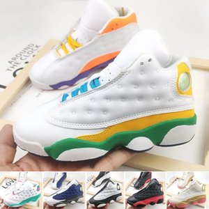 (With Box)13s Baby Toddlers Basketball Shoes high quality 13 White Purple Orange Infant kids sports sneaker size:22-35