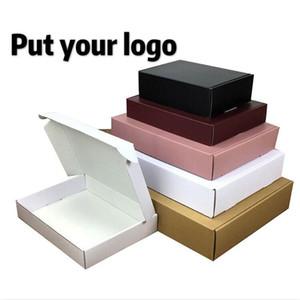 500pcs lot Custom pape box Corrugated Cardboard Box Custom logo Packaging Recycled Folding Mailer Shipping