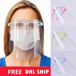 US STOCK Face shield Transparent Full Face Cover Oil-Splash Proof Anti-UV Protective Faceshield with Glass Frame Anti-fog Eye Face Masks
