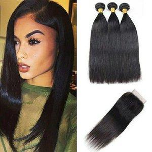 fashion 9a Brazilian virgin human hair straight hair lace 4*4closure