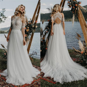Hanging Neck Lace Bohemian Wedding Dresses with Tassel 2021 Vintage Crochet Lace Beach Countryside Fairy Skirt Bride Dress