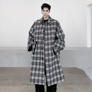 New Men Double-sided Wear Diagonal Bag Pocket Houndstooth Loose Casual Long Wool Plaid Trench Coat Outerwear Male Women Jacket