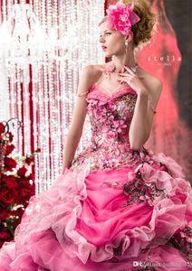 пром Stella De Libero бисером платья Rhinestone Аппликации Цветы Backless Quinceanera Bridal бальные платья рюшами вечернее платье