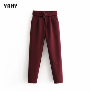 New color Wine red Womens suit Pants Trousers high waist causal belt Pants Trousers zoravicky Womens office lady purple Capris 201007