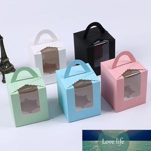 Одиночный кекс коробка с окном с ручкой Macaron коробка мусс торта коробкой Birthday Party Supplies WX9-1487