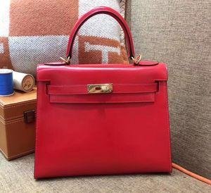 оптом красная коробка кожа, бренд сумка25см, полностью качество ручной работы, шить линией воска, золото или серебро для выбранной, быстрой доставки