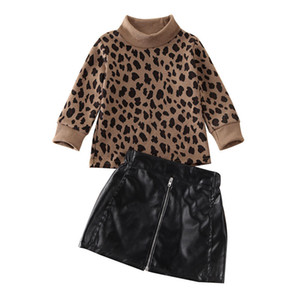 1-5Years Toddler Baby Girl Kid Leopard Sweater Tops + Cortical Mini Skirt Dress Outfit Y200829