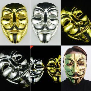Vendetta Party Gold Gold Valentine Silver For v Anonymous Mask Ball Masquerade Decorazione Maschere Full Face Face Halloween Maschera per feste spaventosa DBC DBC