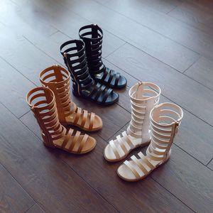 2020 summer girls gladiator shoes princess Sandals for children black brown white big kids teenage size 37
