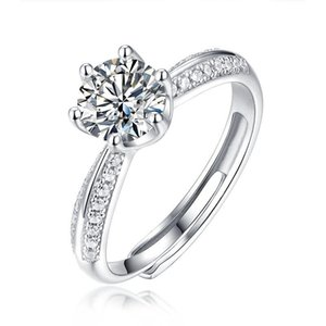 Jewepisode Luxury Wedding Engagement Rings with 0.5ct -3ct Real Moissanite Solid 925 Sterling Silver Ring Can Pass Diamond Test