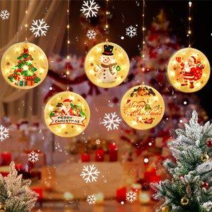 Árbol de Navidad de luz LED redonda Pintura colorido ornamento colgante luz de la batería luces de la cortina Año Nuevo regalo del partido de la decoración 30pcs T1I2540
