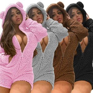 Winter Women Sexy Thick Fleece Hooded Pajama Jumpsuit Front Zipper Long Sleeve Shorts Romper Ladies Home Apparel