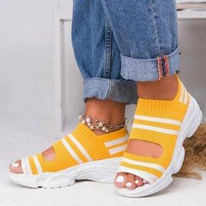HKXN 2020 Neue elastische Tuch Frau Sommer Sandalen Frauen Dicke Untere Folien Damen Casual Schuhe Sandalen Plattform T1
