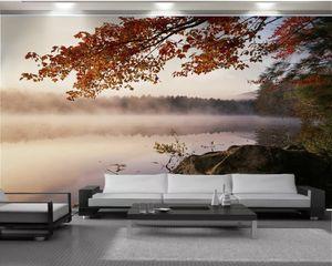 El papel para pared 3d para el dormitorio Superficie río fantástico y un hermoso paisaje de hojas de arce de la decoración interior de la Seda mural del papel pintado