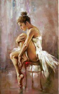 Portrait belle jeune fille de ballet ballerine ont une maison de repos Décoration Peinture à l'huile sur toile Wall Art Toile Image 201021